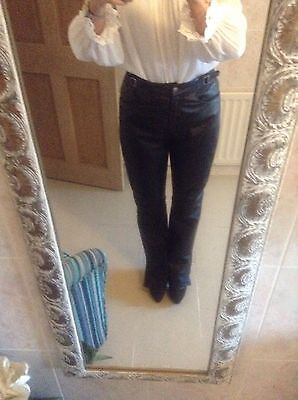 Vintage Real Leather Black Trousers High Waisted Size 14