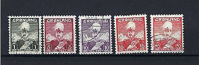Greenland Definitives First issue v SG 1 PLUS 4 MORE VALUES. VERY FINE USED.