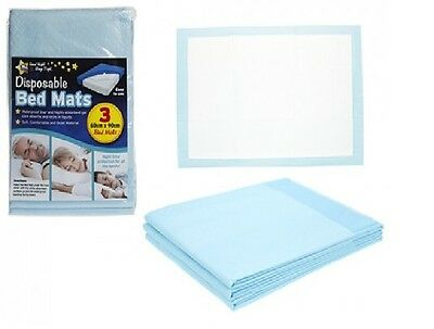 3 pk Baby Bed Mats 3 Covers Highly Absorbent Disposable  60cm X 90cm