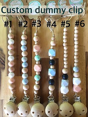 Dummy Pacifier Chain Clip Holder Wood Silicone Baby custom Gift Shower