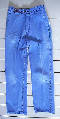Vtg French 1950 Indigo Blue Chore Work Wear Trousers Pant Hobo Peasant Worker 12