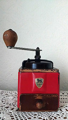 Peugeot Coffee Grinder Mill Vintage French Antique Shabby Chic Retro Red