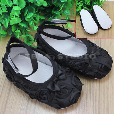 1 Pair 12-18 Months Baby Girl Soft Bottom Antiskid Rose Bow Shoes 13 Size Black
