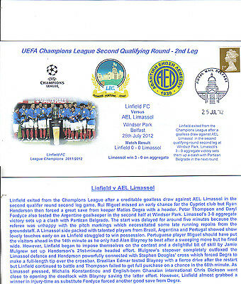 linfield v limassol champions league second qualifying round first day cover
