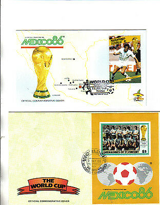 2 1986 world cup first day covers featuring uruguay