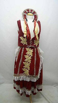 Red and Gold Velvet Russian National Dress Costume