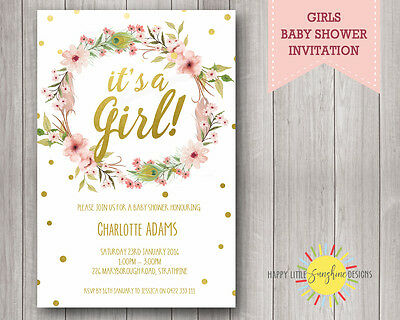Custom Printable Baby Shower Invitation Floral, Feathers, Gold Faux,