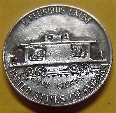 Hobo nickel coin  caboose  hand carved