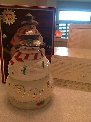 2003 Lenox Occasions Christmas Holiday Stacking Snowman Candy Box