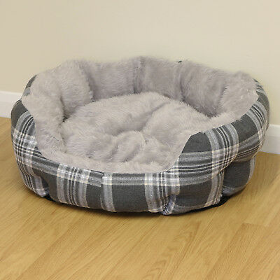 Medium Grey Check Thick Plush Soft Dog/Puppy/Cat Pet Bed Furry/Warm Cushion M