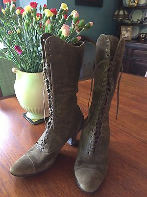 Vintage Antique Victorian Suede Lace Up Boots Approx. Size 5