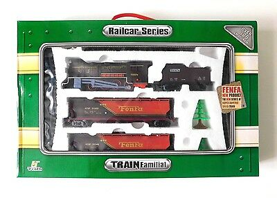 Boxed FENFA 1:87 Scale Railcar Series Battery Operated Toy Steam Model Train Set