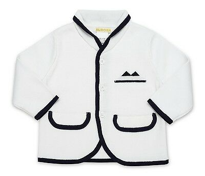 Aurora Royal Baby, Toddler White & Navy  Cotton Knitted Smart Cardigan