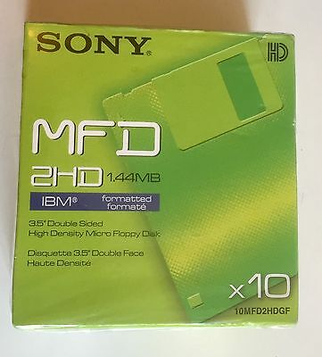 "Sony MFD 2HD 1.44MB 3.5"" Double Sided Floppy Discs 10MFD2HDGF (New Pack of 10x)"