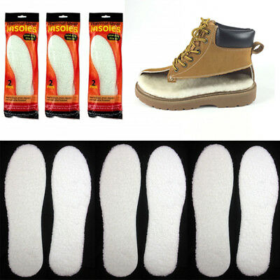 3 Pairs Unisex Winter Warm Thick Fleece Fluffy Shoe Insoles Foam Pads Cut Insert