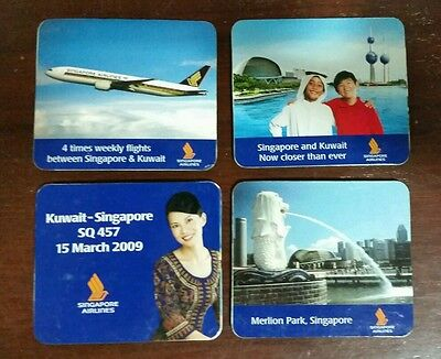2009 Singapore Airlines Singapore to Kuwait first flight fridge magnet set of 4
