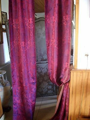 """ANTIQUE FRENCH CHATEAU SILK PANELS 9FT.6"""" (288cm) long"""