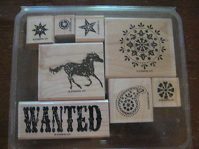 "Set of 8 Stampin Up! ""WANTED"" Rubber Stamps"