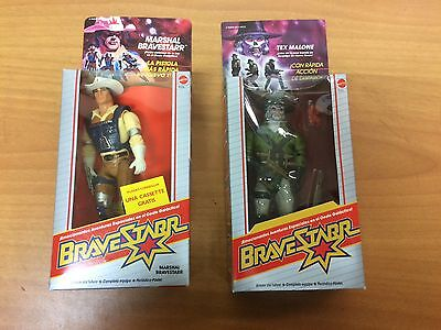 2x BRAVESTARR MR MARSHAL & TEX MALONE  MATTEL  NEW OLD STOCK SPANISH