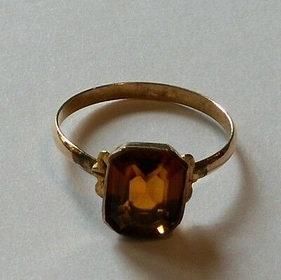 Antique Victorian 10K Gold Citrine Baby Child's Ring Size 2 1/2