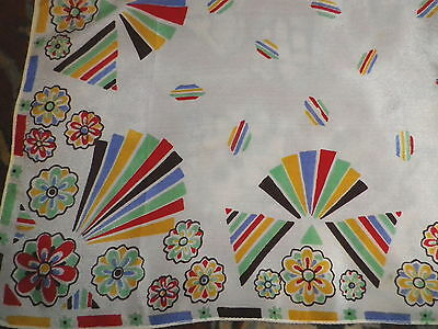 Vintage 1930's Silk Handkerchief Art Deco Fan Design