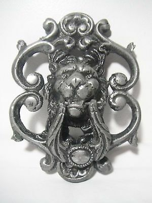 Vintage Large Cast Aluminum Victorian Style Gothic Lion Head Door Knocker scroll