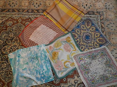 Bundle of Six Vintage Silk Crepe Handkerchiefs Hankies