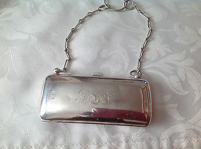 Solid Silver Ladies Purse With Chain Handle
