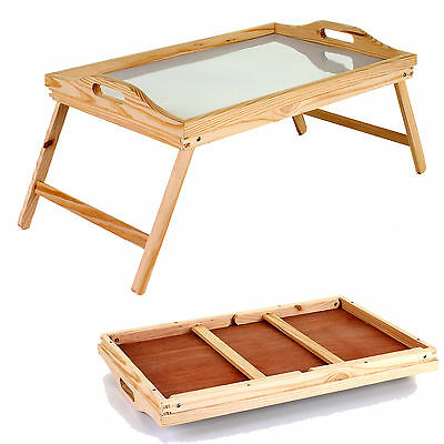 Lap Tray Wooden Frame With Folding Legs Wipe Clean Surface Breakfast Dinner Food