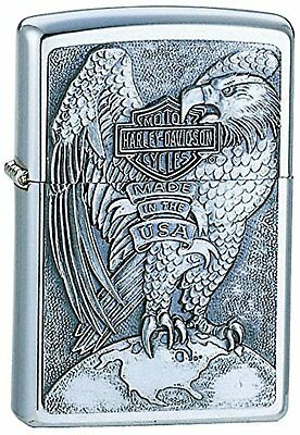 Chrome Brushed - Harley Davidson, Zippo, Made in the USA
