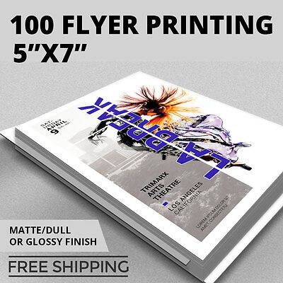100 Flyer Printing - 5x7 Custom - Full Color - Thick Stock - Glossy or Matte