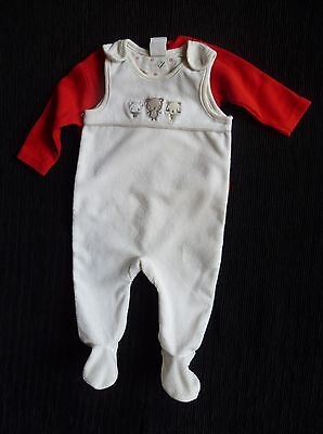 Baby clothes UNISEX BOY GIRL newborn 0-1m cream/beige velour dungarees/red topLS