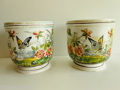 CACHE POTS / VASE FAIENCE DE GIEN XIXème / DECOR FLORAL & PAPILLON / FLOWER POT