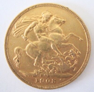 Full Gold Sovereign 1903 King Edward VII 22ct Gold Coin Sydney Mint