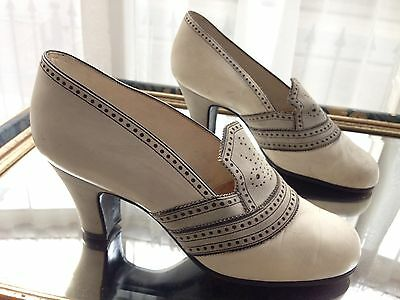 Exquisite French Edwardian Ivory Kid Leather Grey Suede Brogue Court Shoes 1.5 2