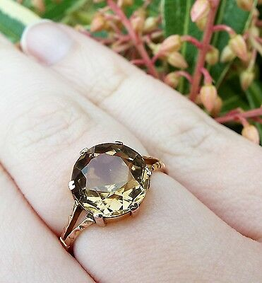 Antique Edwardian 9ct Rose Gold Large Faceted Citrine Ring / Size M 1/2