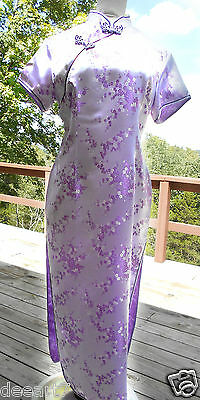 NEW-Oriental Lavender Purple,Long Chinese Asian Japanese Dress Cheong-sam Large
