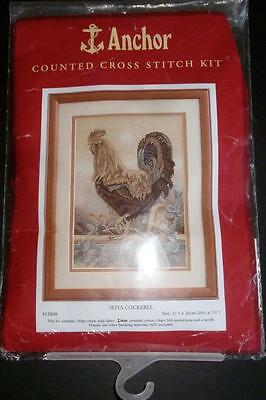 "Vintage  Anchor ""sepia Cockerel""counted Cross Stitch Kit"