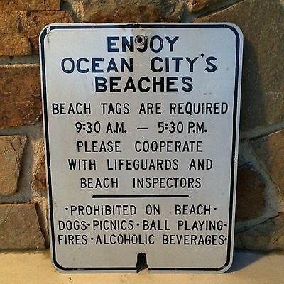 "Vintage Sign Ocean City Beach Real Advertising Rare 18"" x 24"""