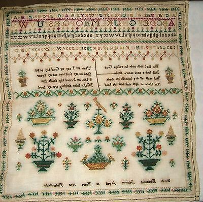 1840 English Suffolk Area Victorian Gauze Linen Sampler Sarah Johnson Age 12