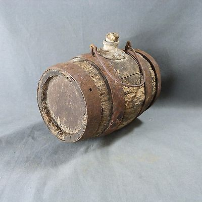 Antique Rustic French Small Oak Wood Wine or Alcohol Barrel with Handle