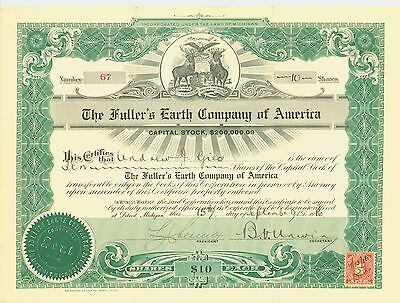 1916 Stock Certificate -The Fuller's Earth Company of America
