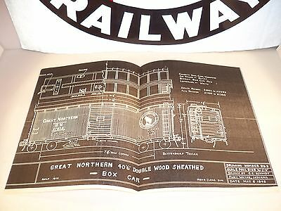 """1945 Great Northern 40' 6"""" Double Wood Sheathed Box Car Drawing Blueprint"""