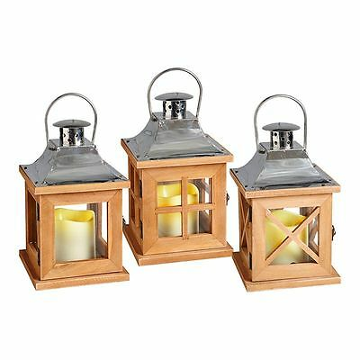 Wooden LED Candle Lantern Battery Operated Ornament Outdoor Indoor Decoration