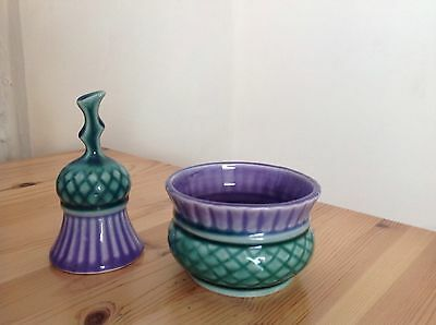 Scottish Pottery Sugar Bowl And Matching Thistle Ornament