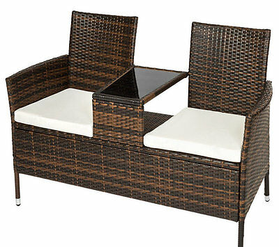 Rattan Garden Furniture Seat Patio Bench Glass Modern Large Outdoor Arm Chairs
