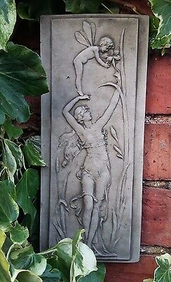 Stone Garden Nymph And Cherub Angel Fairy Wall Plaque Hanging