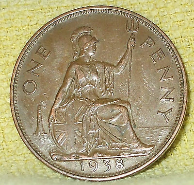 1938 George VI One Penny Great Britain Coin (Ref C)