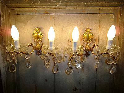 French a pair of  gorgeous vintage bronze crystals glass beautiful detailed