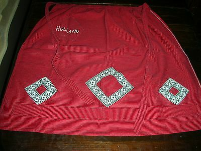 "Vintage 1950's Cotton Dutch Apron Red with Black Pinstripes ""Holland"" NEVER USED"